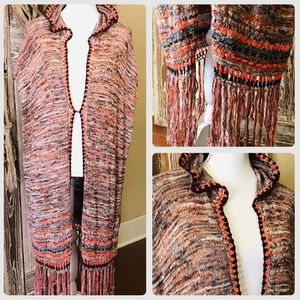 Free People Boho Hooded Long Sweater Cardigan S